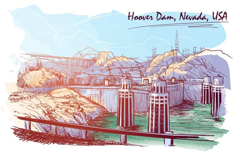Voelt de overweldigende die het panoramaschets van de Hooverdam digitaal wordt en om wordt geschilderd getrokken om watercolour h vector illustratie