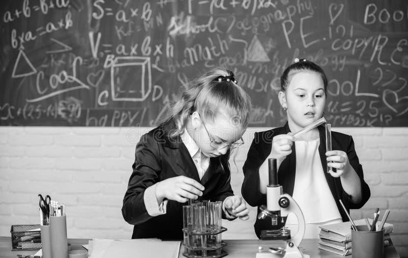 Voer chemische reacties uit Basiskennis van chemie Maak het bestuderen van chemie het interesseren Onderwijsexperiment stock fotografie