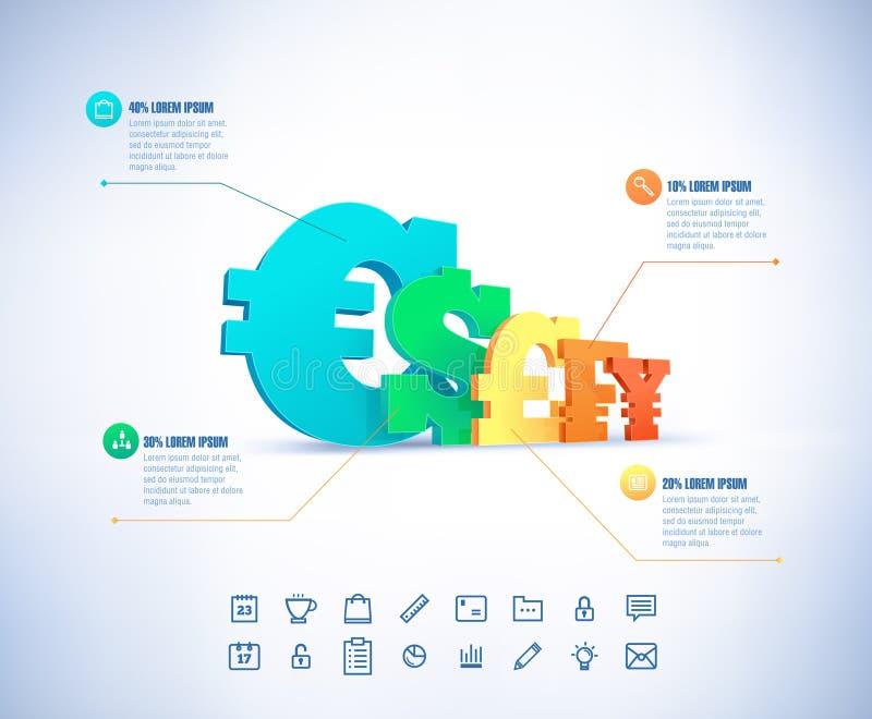 Voer de zaken van het trapdiagram, Webontwerp, infographics op vector illustratie