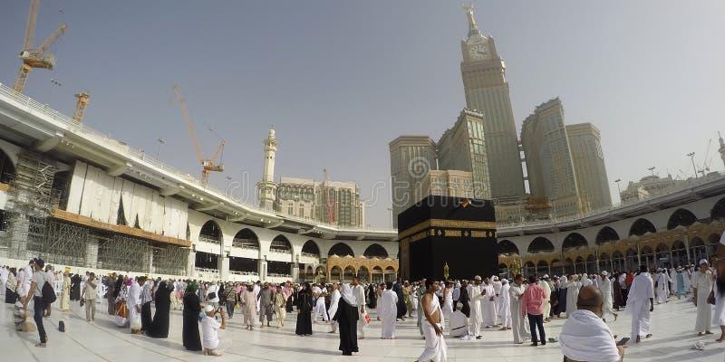 Voer Umrah of Hajj bij de Haram-Moskee uit stock foto