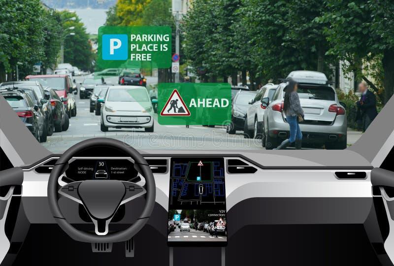 Voertuig aan voertuig mededeling stock afbeelding