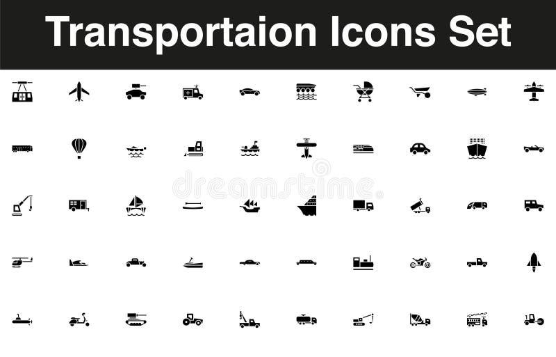 Voertuigen en de vastgestelde stevige zwarte van het vervoerspictogram stock illustratie