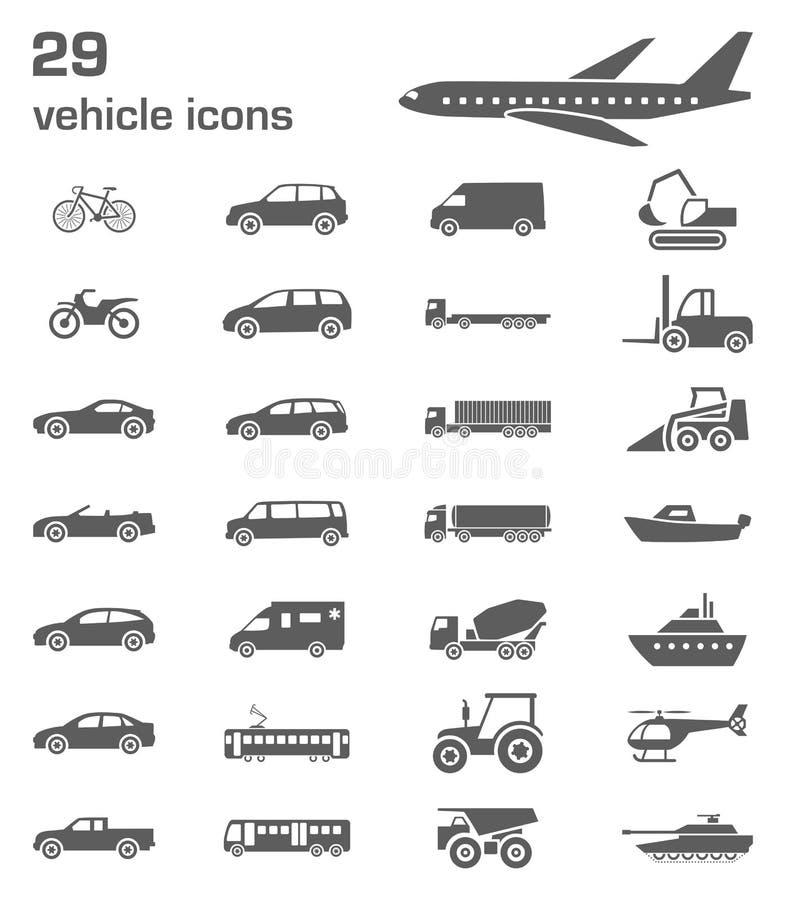 29 voertuigpictogrammen royalty-vrije illustratie