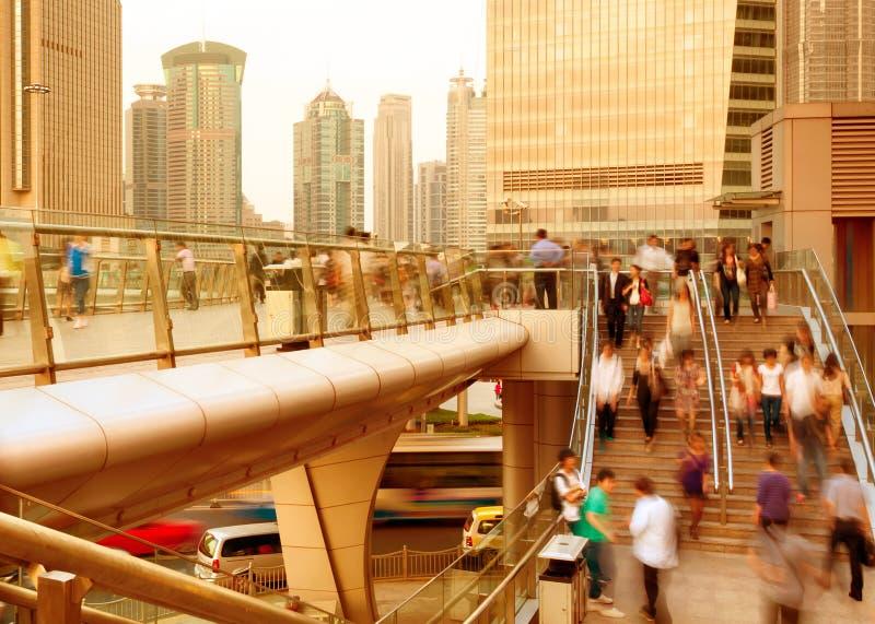 Voet de onderdoorgangmenigte van Shanghai stock afbeelding