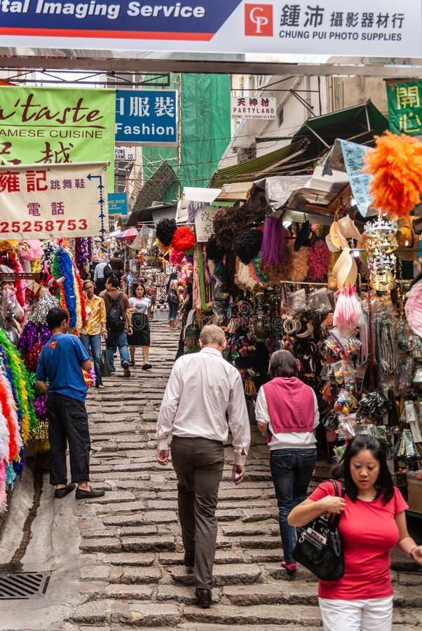 Voet het winkelen straat op Hong Kong Island, China stock fotografie