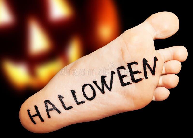 Voet met de collage van inschrijvings zwarte Halloween royalty-vrije stock afbeelding