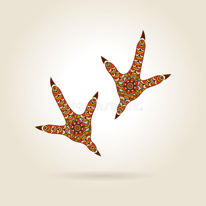 Voetafdruk Gestileerde Haan in Kleur vector illustratie