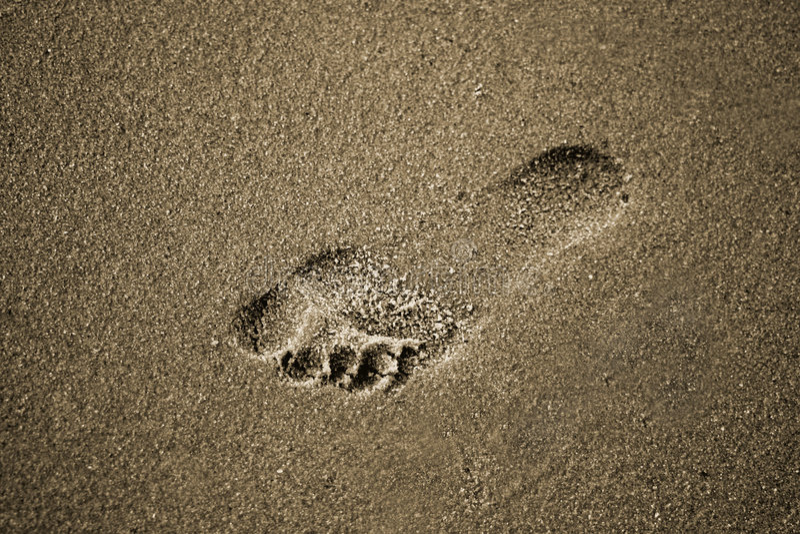 Voetafdruk in het zand royalty-vrije stock foto