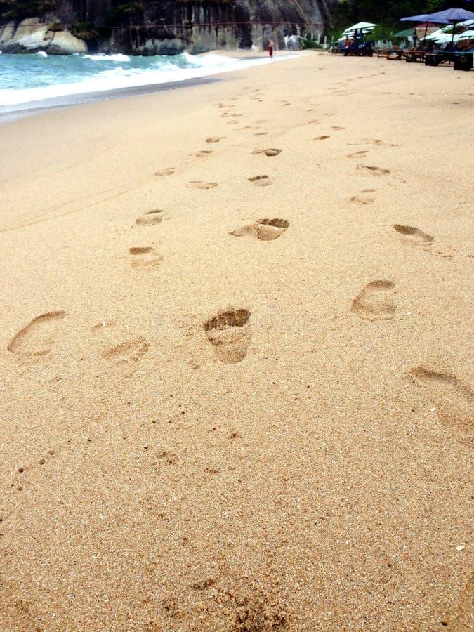 Voetafdruk op het strand royalty-vrije stock foto