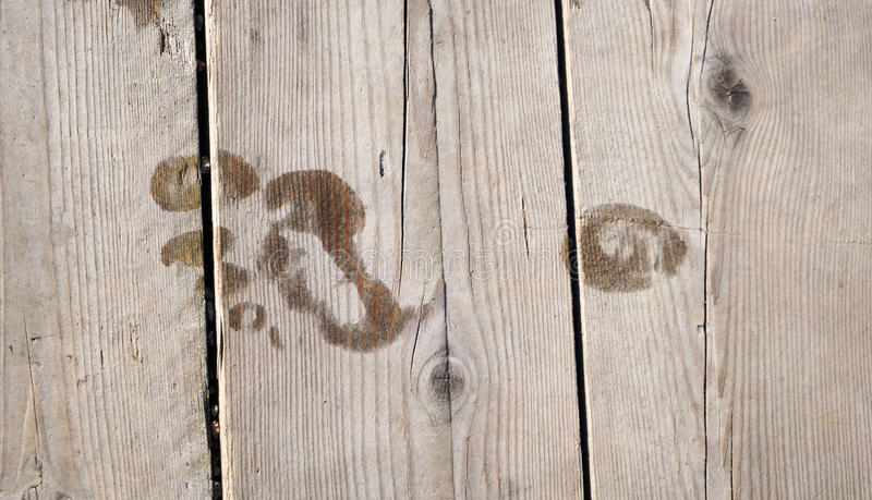 Voetafdruk op houten vloer royalty-vrije stock afbeeldingen