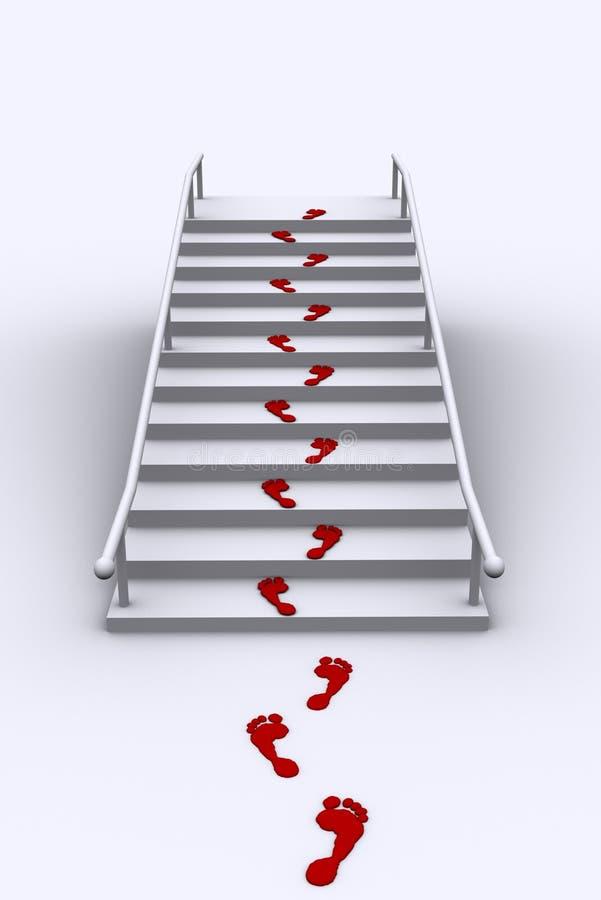 Voetafdruk op ladder royalty-vrije illustratie