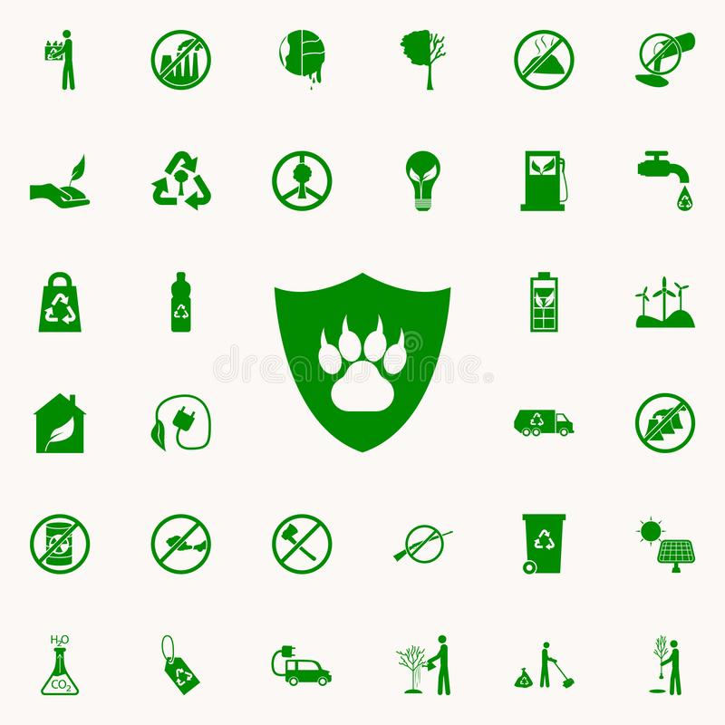 voetafdruk van een dier in een schild groen pictogram voor Web wordt geplaatst dat en mobiel de pictogrammenalgemeen begrip van G royalty-vrije illustratie