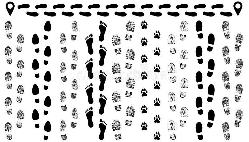 Voetafdruk van schoenen op de weg, geïsoleerde vastgestelde silhouetvector stock illustratie