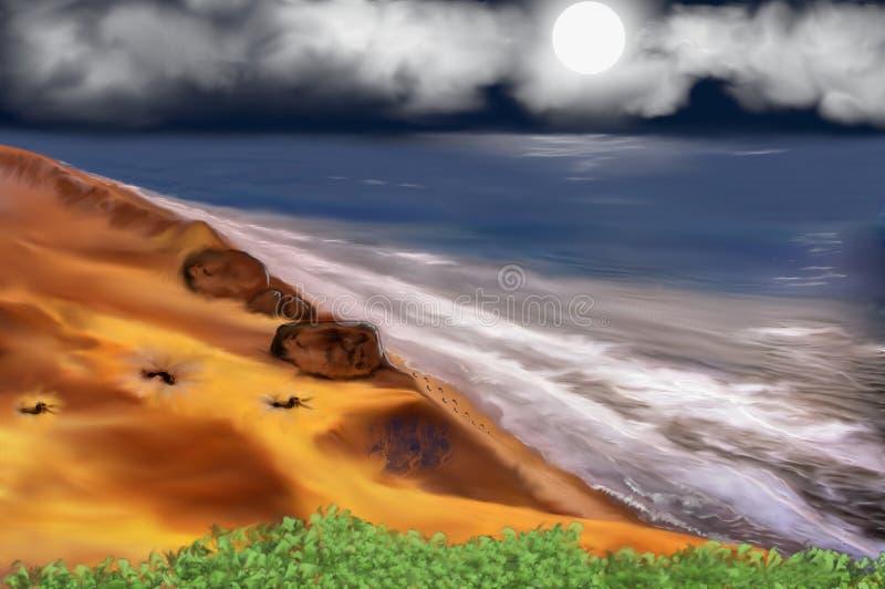 Voetafdrukken in het Kleurrijke zand stock illustratie