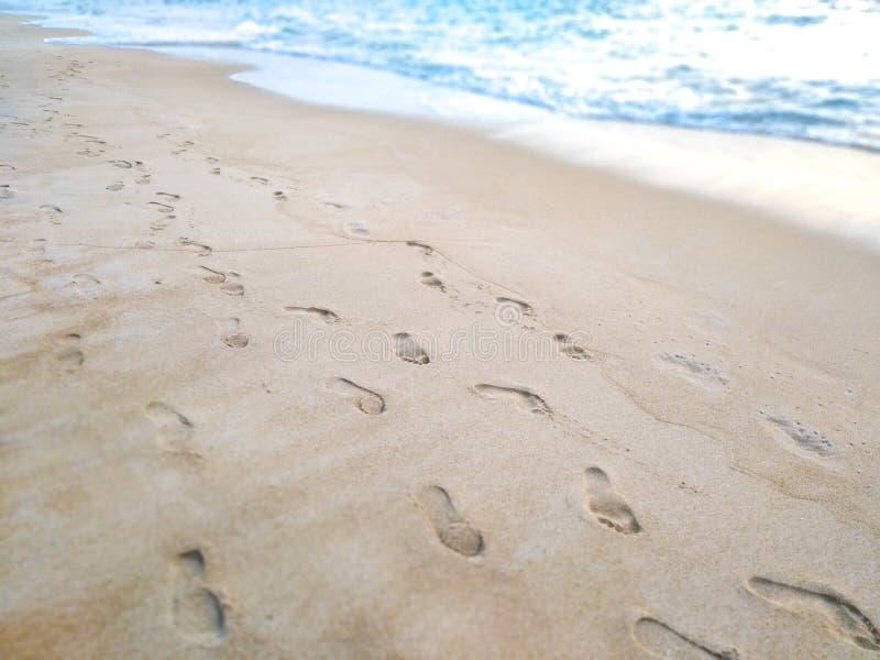 Voetafdrukken in het zand op het strand stock foto
