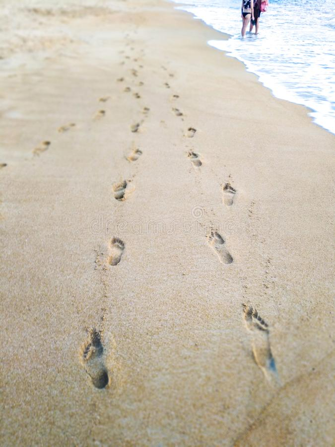 Voetafdrukken in het zand op het strand stock afbeeldingen