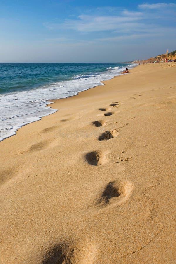 Voetafdrukken op zand stock fotografie