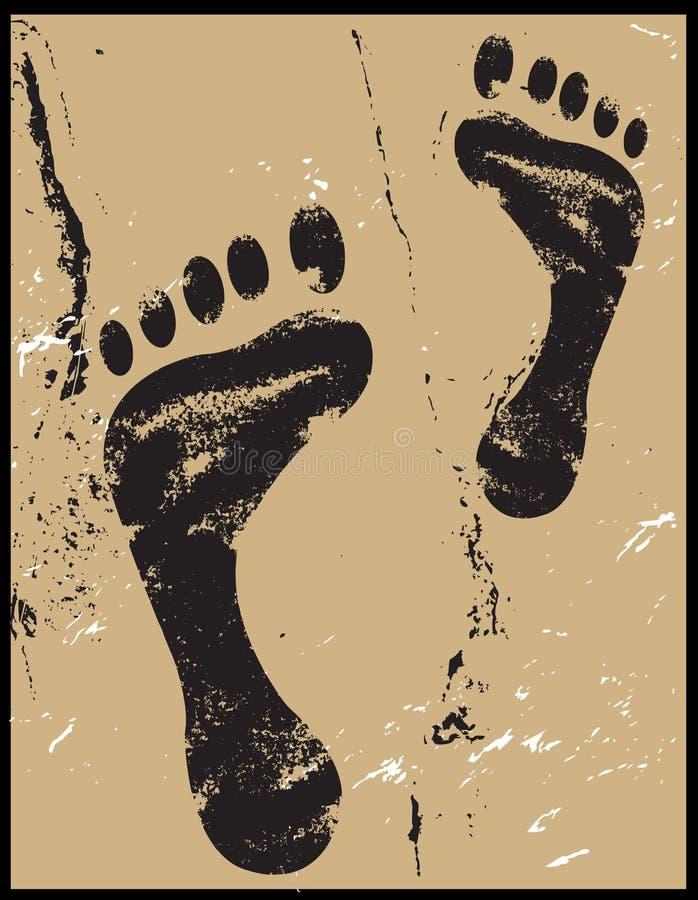 voetafdrukken op zand grunge stock illustratie