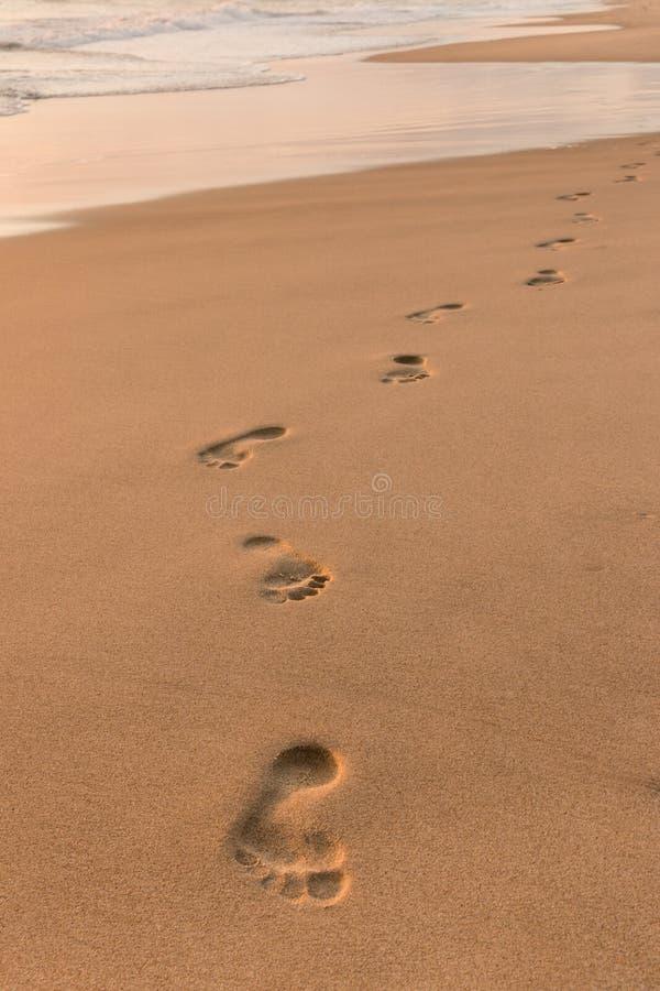 Voetafdrukken op zandig strand bij zonsopgang royalty-vrije stock foto