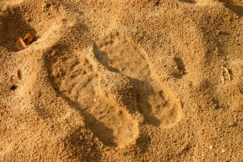 Download Voetafdrukken in zand stock foto. Afbeelding bestaande uit voorwerp - 31736