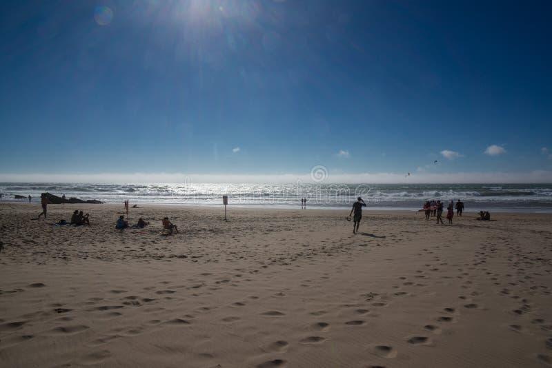 Voetafdrukken in zand bij strand stock afbeeldingen