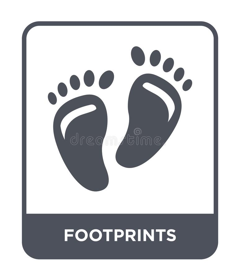 voetafdrukkenpictogram in in ontwerpstijl voetafdrukkenpictogram op witte achtergrond wordt geïsoleerd die eenvoudig en modern vo stock illustratie
