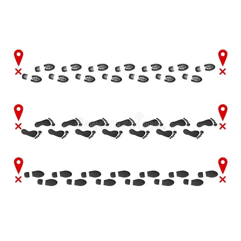 Voetafdruksleep van beginpunt om speld te beëindigen Druk van laarzen en blootvoets Vector illustratie die op witte achtergrond w vector illustratie