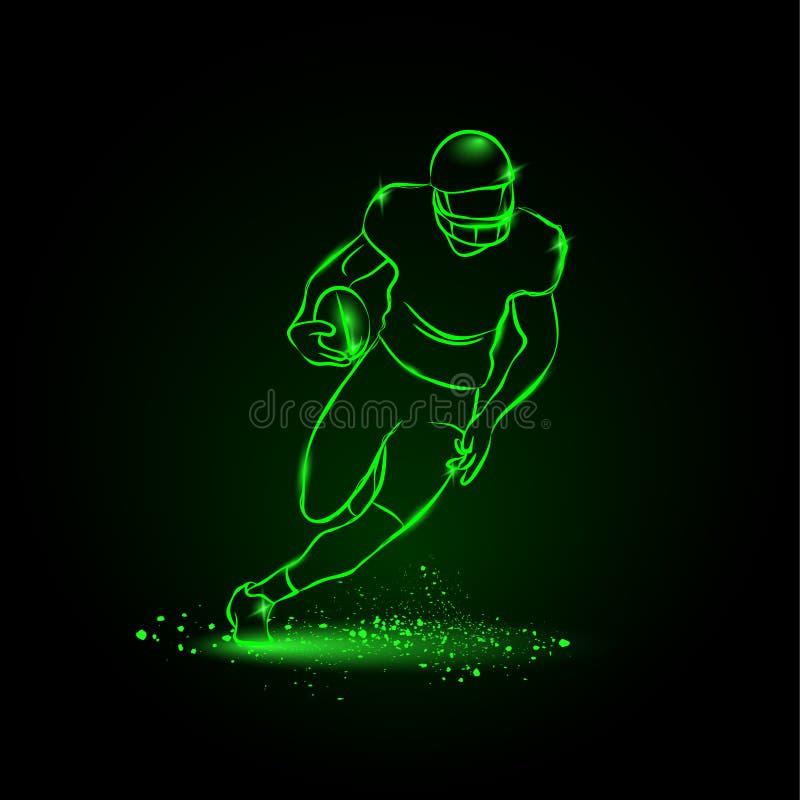 Voetbal De spelerlooppas weg met de bal De stijl van het neon stock fotografie