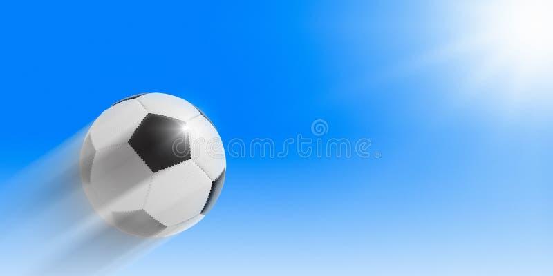 Voetbal die in de hemel aan de zon vliegen royalty-vrije stock afbeeldingen