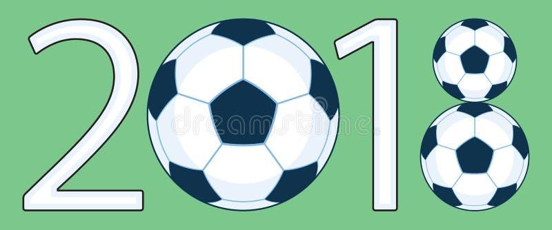 Voetbal 2018 die van letters voorzien stock illustratie