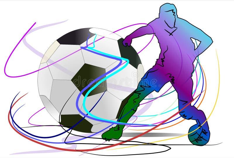 Voetbal en actie vector illustratie