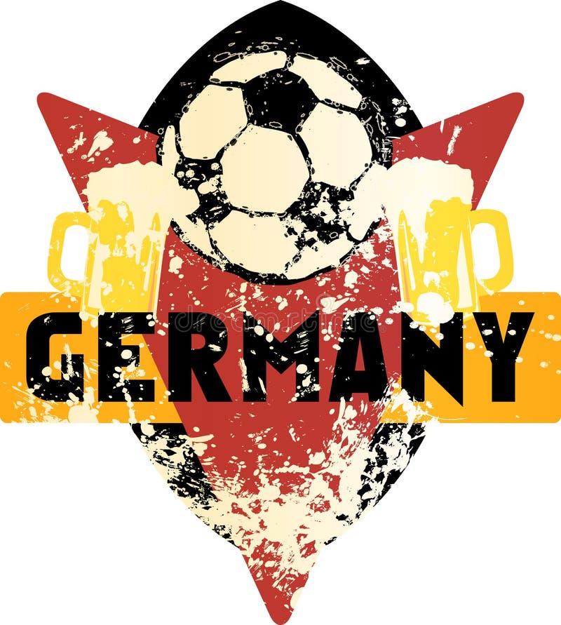Voetbal/Voetbal fictief grungy embleem Duitsland royalty-vrije illustratie