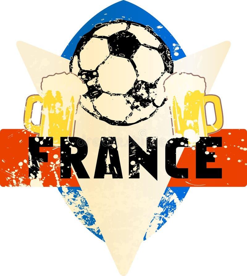 Voetbal/Voetbal fictief grungy embleem Frankrijk royalty-vrije illustratie