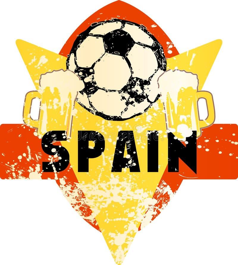 Voetbal/Voetbal fictief grungy embleem Spanje vector illustratie