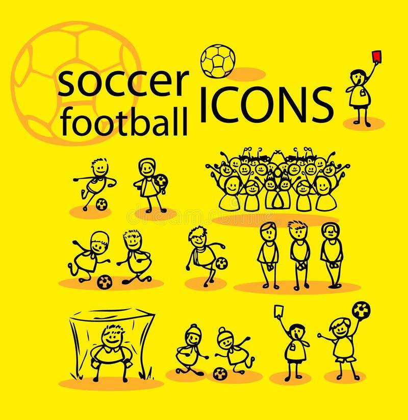 Voetbal, geplaatste voetbalpictogrammen vector illustratie