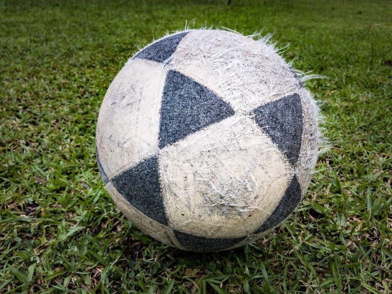 Voetbal in het gras stock afbeelding