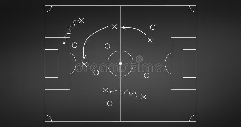Voetbal of voetbal het plan van de spelstrategie op bordachtergrond die wordt geïsoleerd Sportelement Vectordieillustratie op wit vector illustratie