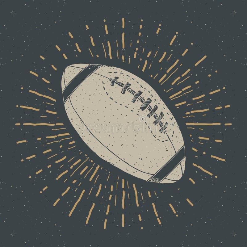 Voetbal, het uitstekende etiket van de rugbybal, Hand getrokken schets, grunge geweven retro kenteken, de t-shirtdruk van het typ stock illustratie