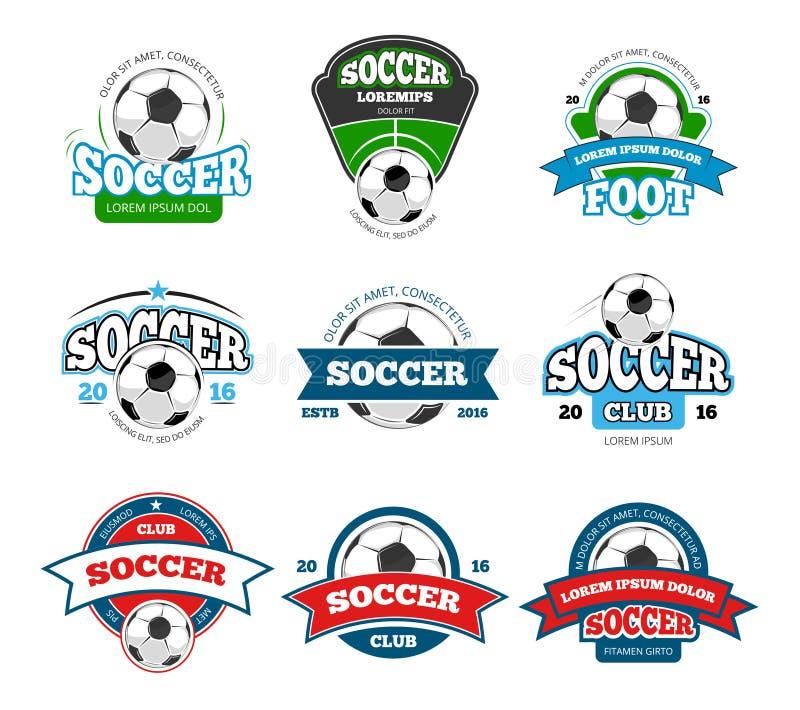 Voetbal, het vectorembleem van de voetbalclub, geplaatste kentekenmalplaatjes stock illustratie