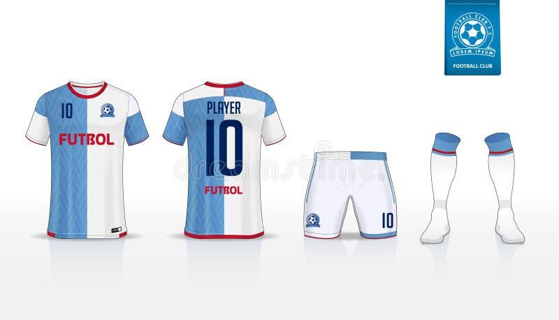 Voetbal Jersey of de t-shirtsport van de voetbaluitrusting, borrels, het ontwerp van het sokmalplaatje voor sportclub Vlak voetba royalty-vrije illustratie