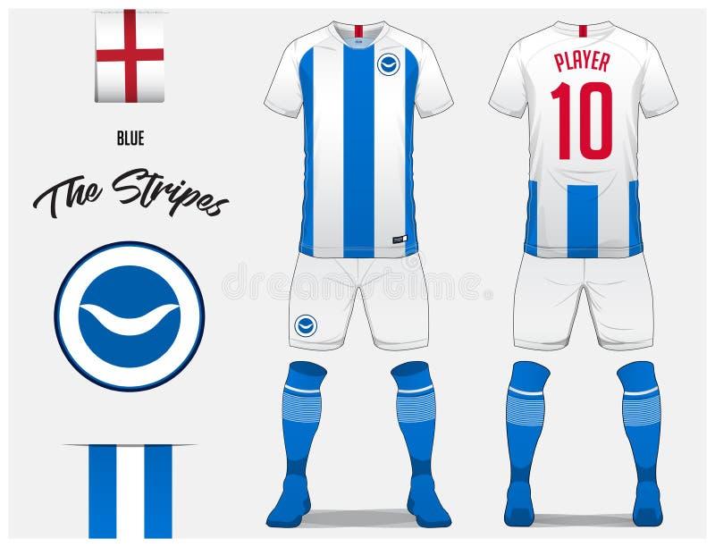 Voetbal Jersey of het malplaatje van de voetbaluitrusting voor voetbalclub Het blauwe voetbaloverhemd met sok en de borrels bespo vector illustratie