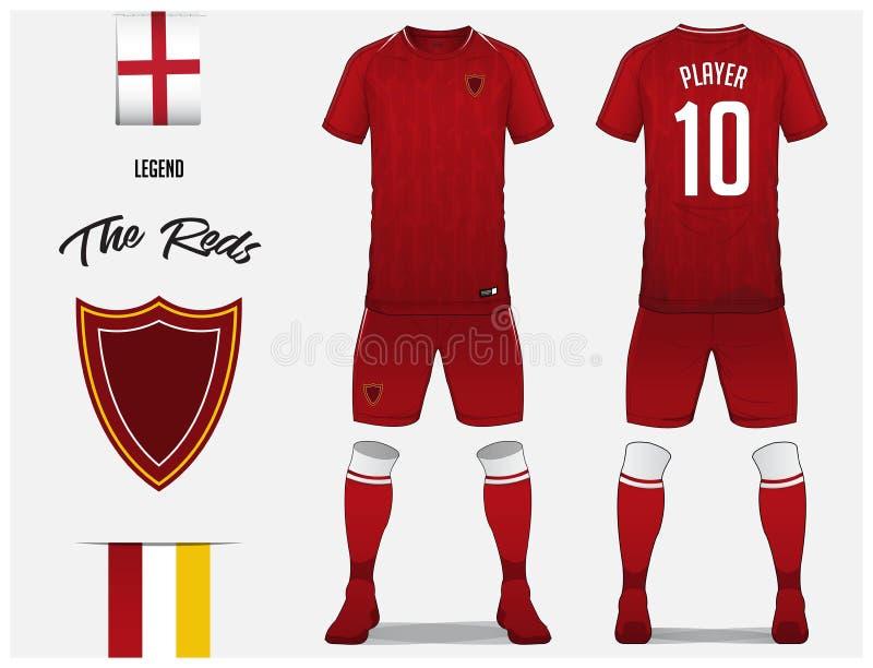 Voetbal Jersey of het malplaatje van de voetbaluitrusting voor voetbalclub Rood voetbaloverhemd met omhoog sok en korte spot Voor vector illustratie