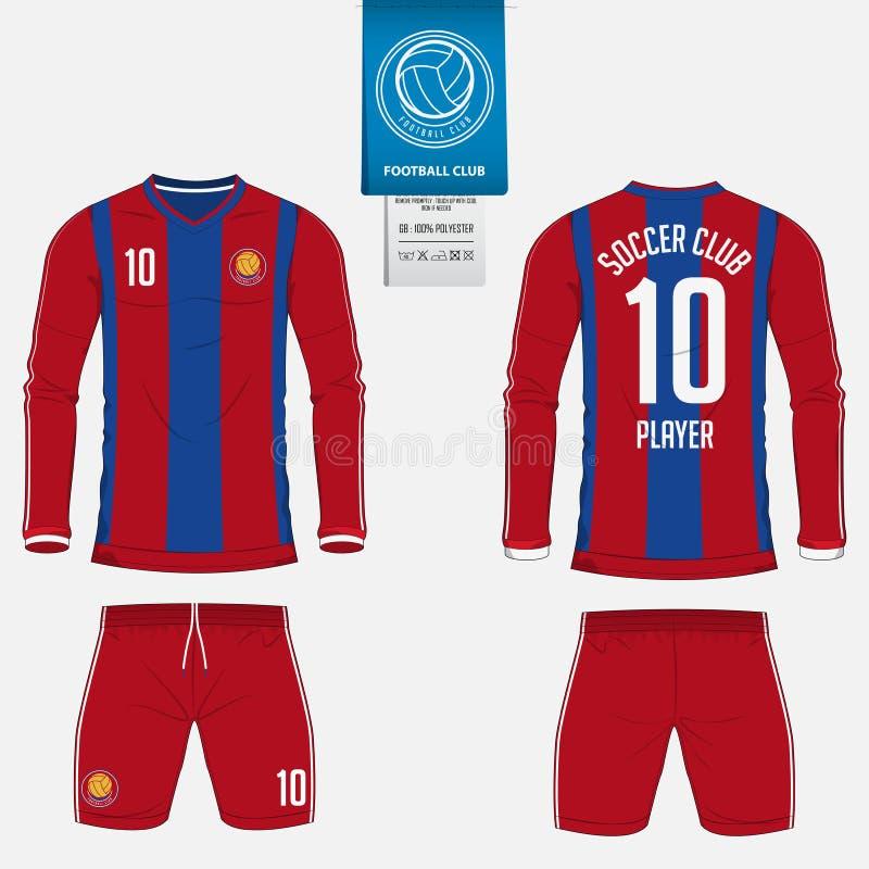Voetbal Jersey of het malplaatje van de voetbaluitrusting voor voetbalclub De spot van het voetbaloverhemd omhoog Voor en achter  royalty-vrije illustratie