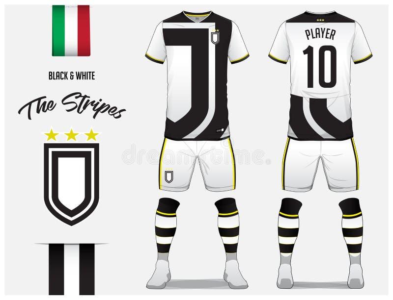 Voetbal Jersey of het malplaatje van de voetbaluitrusting voor voetbalclub Het zwart-witte overhemd van de streepvoetbal met omho vector illustratie