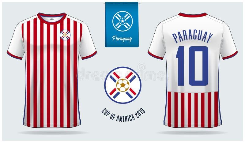 Voetbal Jersey of het ontwerp van het het modelmalplaatje van de voetbaluitrusting voor nationaal de voetbalteam van Paraguay vector illustratie