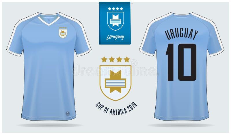 Voetbal Jersey of het ontwerp van het het modelmalplaatje van de voetbaluitrusting voor nationaal de voetbalteam van Uruguay royalty-vrije illustratie