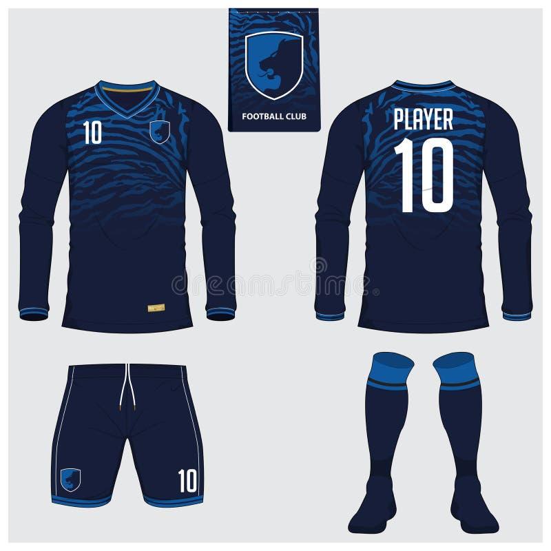Voetbal Jersey of voetbaluitrusting, lange koker, kort, sokmalplaatje voor sportclub royalty-vrije illustratie