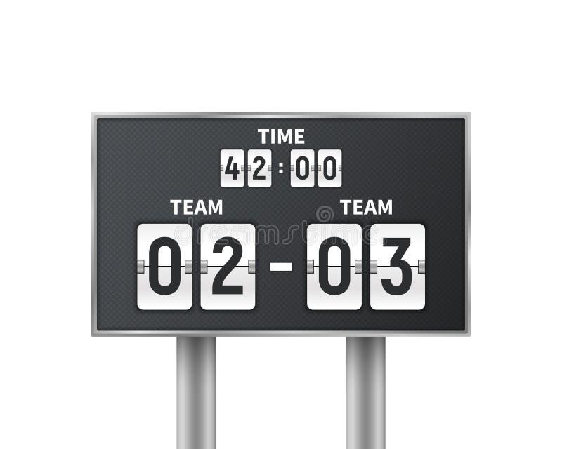 Voetbal, voetbal mechanisch die scorebord op witte achtergrond wordt geïsoleerd Ontwerpaftelprocedure met tijd, resultaatvertonin vector illustratie