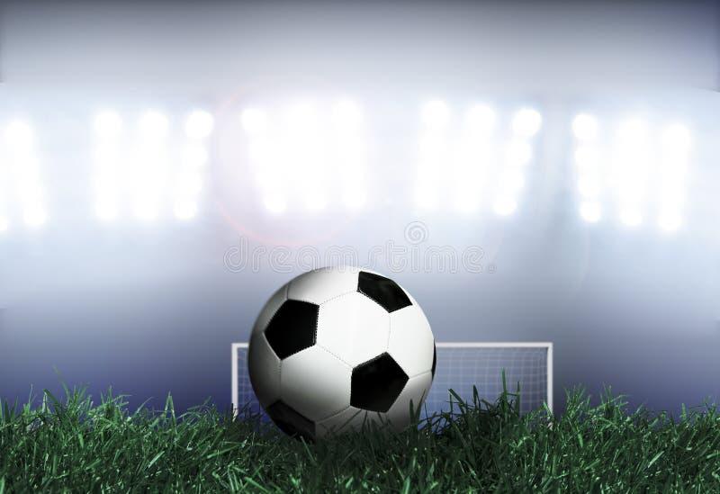 Voetbal met Schijnwerpers stock foto's