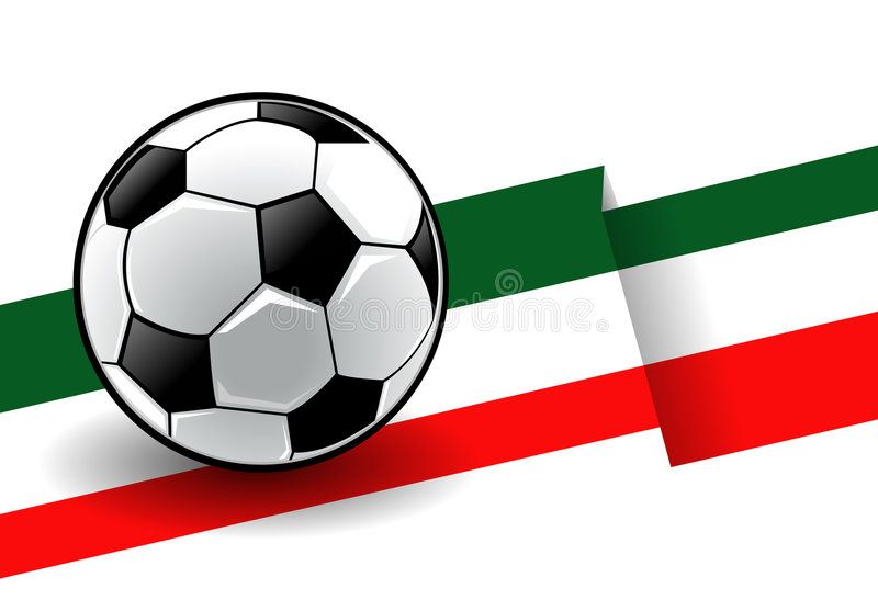 Voetbal met vlag - Italië stock illustratie